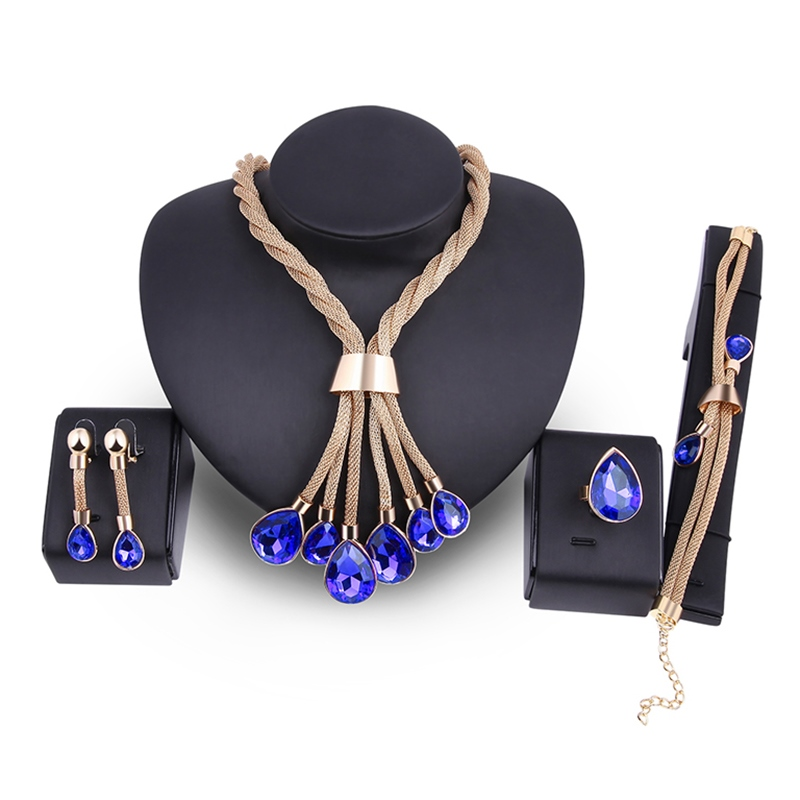 Ericdress Stunning Blue Sapphire Inlay Romantic Jewelry Set
