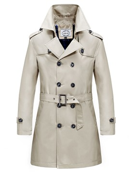 Ericdress Solid Color Double-Breasted Belt Men's Trench Coat