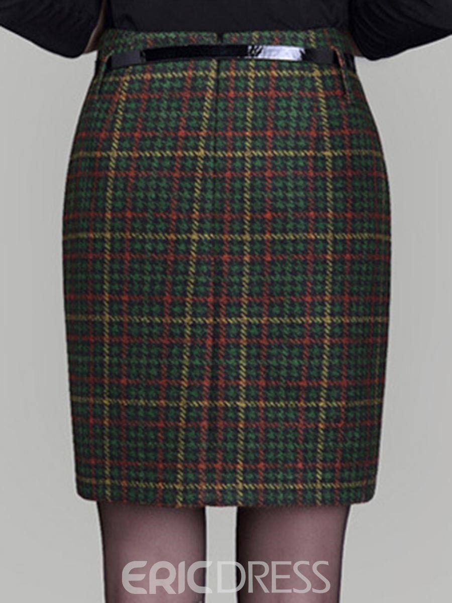 Ericdress Asymmetric Plaid Column Skirts