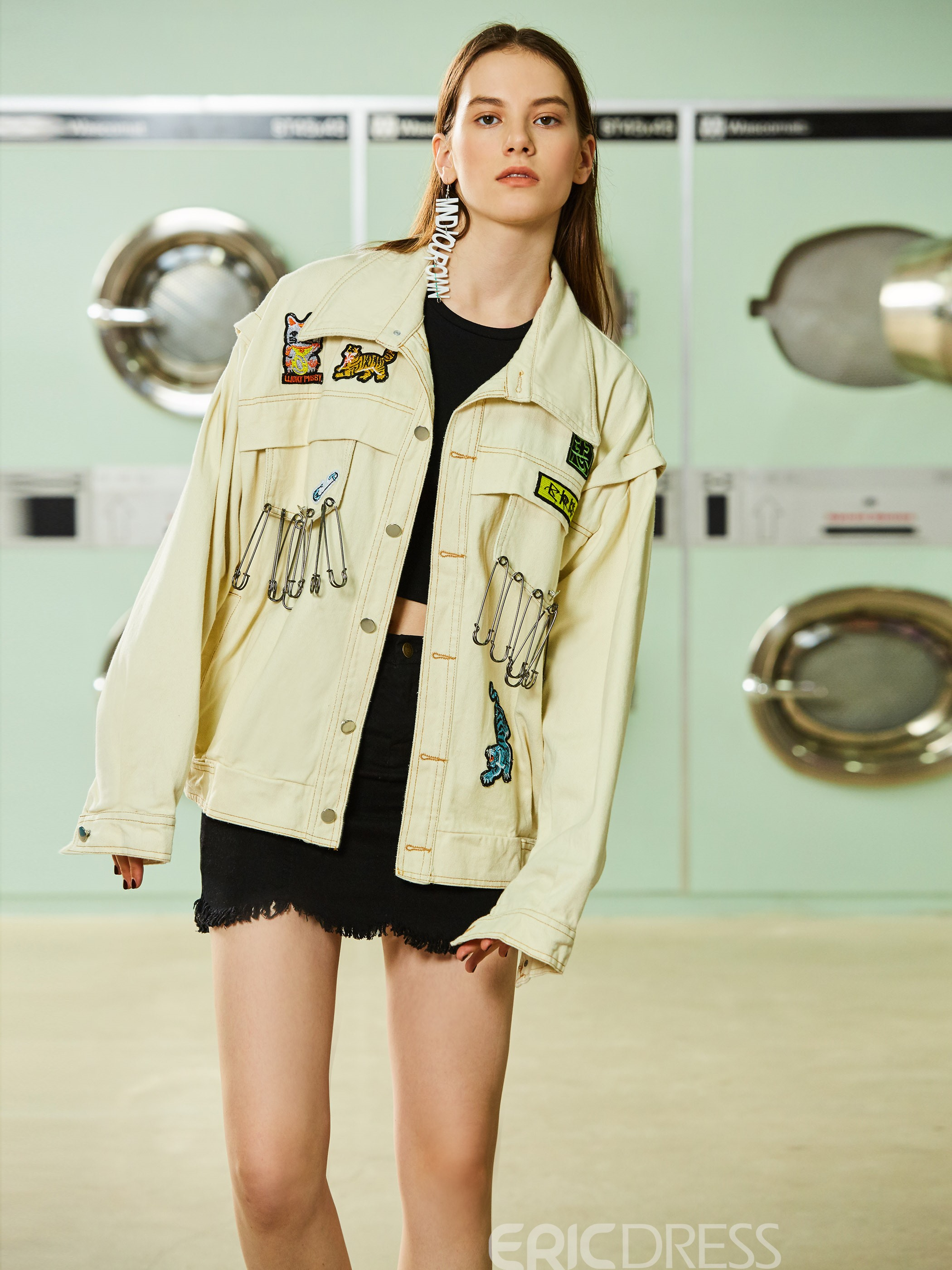 Ericdress Lapel Single-Breasted Embroideried Mid-Length Jacket
