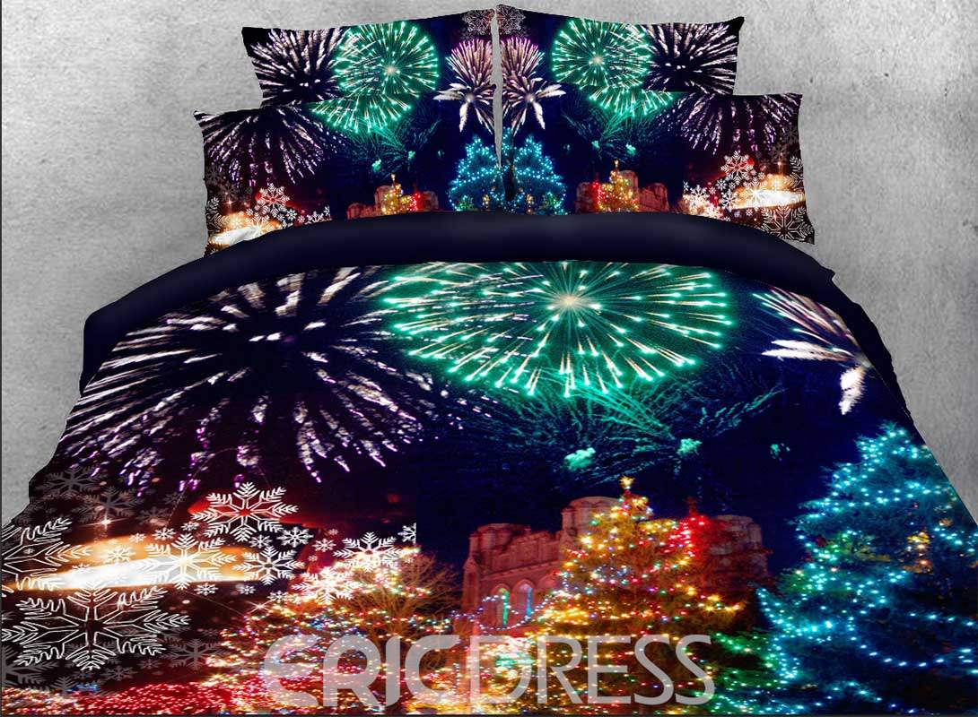 Vivilinen 3D Christmas Trees and Fireworks Printed Cotton 4-Piece Bedding Sets/Duvet Covers