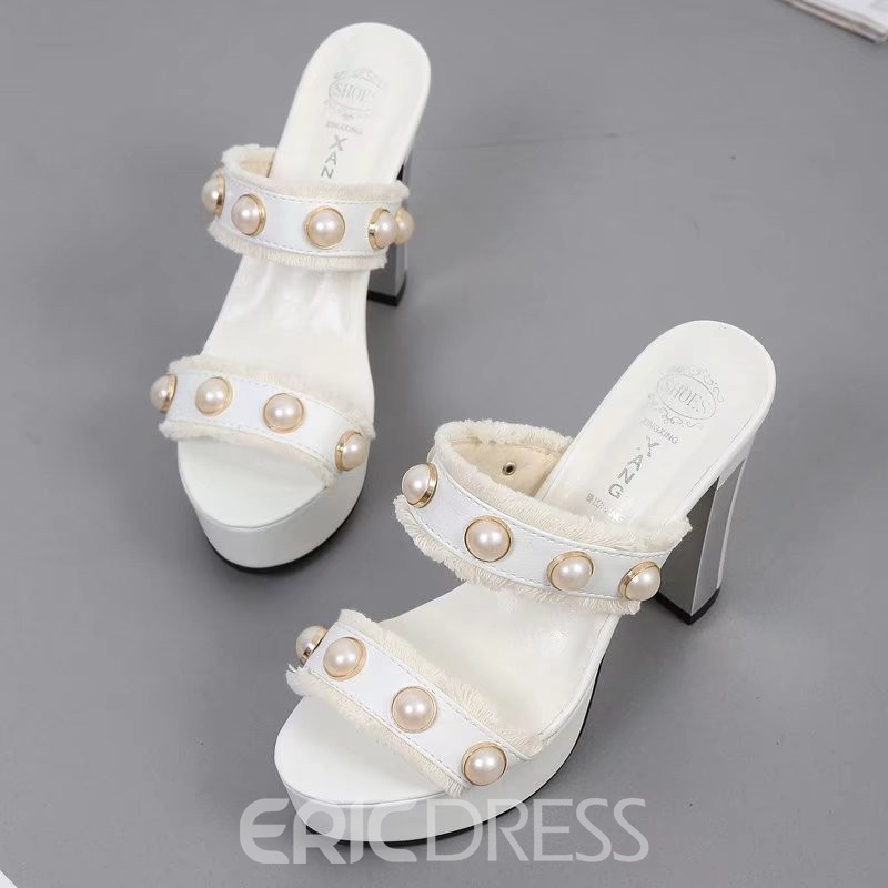 Ericdress Flip Flop Platform Chunky Mules Shoes with Beads