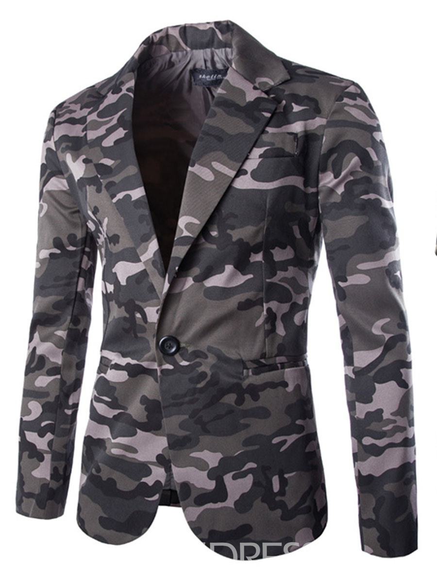 Ericdress Camouflage Print Notched Lapel Men's Blazer