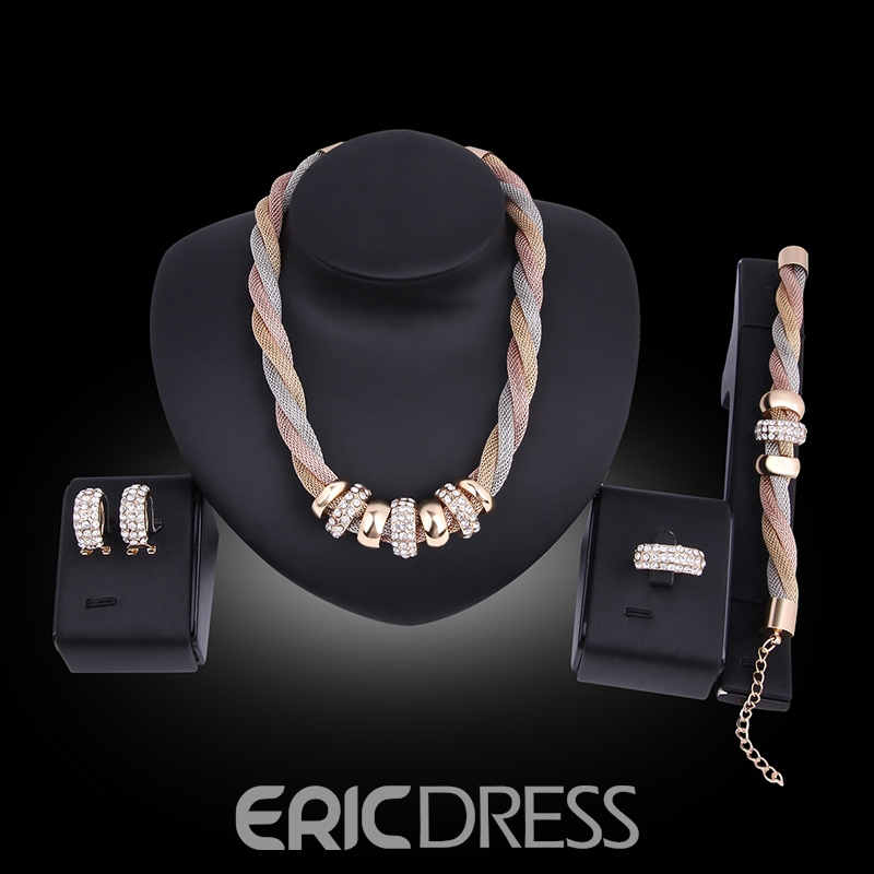 Ericdress Luxurious Diamante Four-Piece Wedding Accessories Jewelry Set