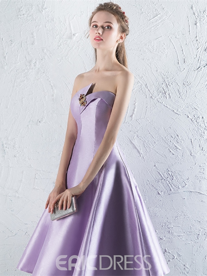 Ericdress A Line Strapless Tea Length Homecoming Dress