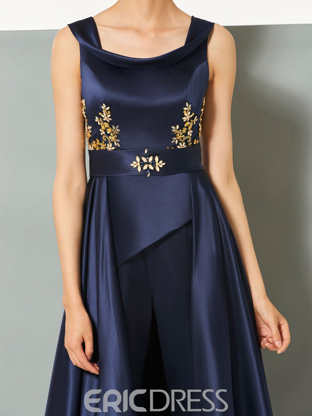 Ericdress A-Line Straps Beading Cap Sleeves Bateau Jumpsuits