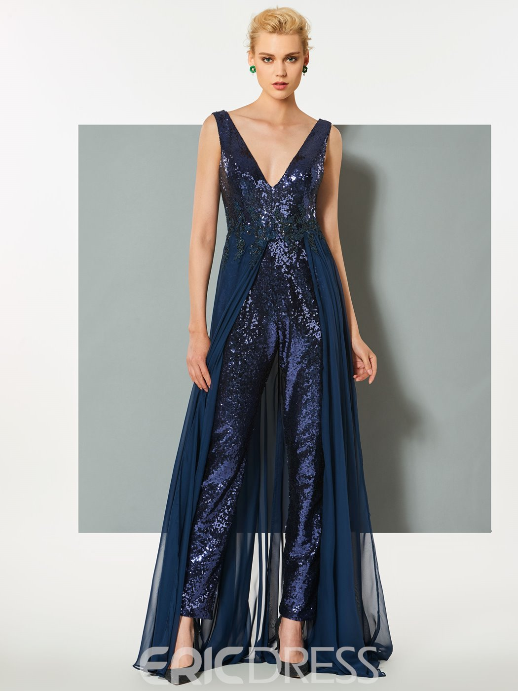 Ericdress Sheath V Neck Sequin Prom Jumpsuit With Train
