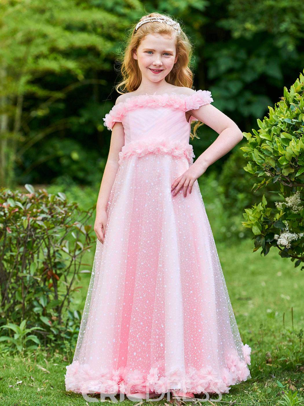 Ericdress Off The Shoulder Flowers A Line Tulle Flower Girl Party Dress