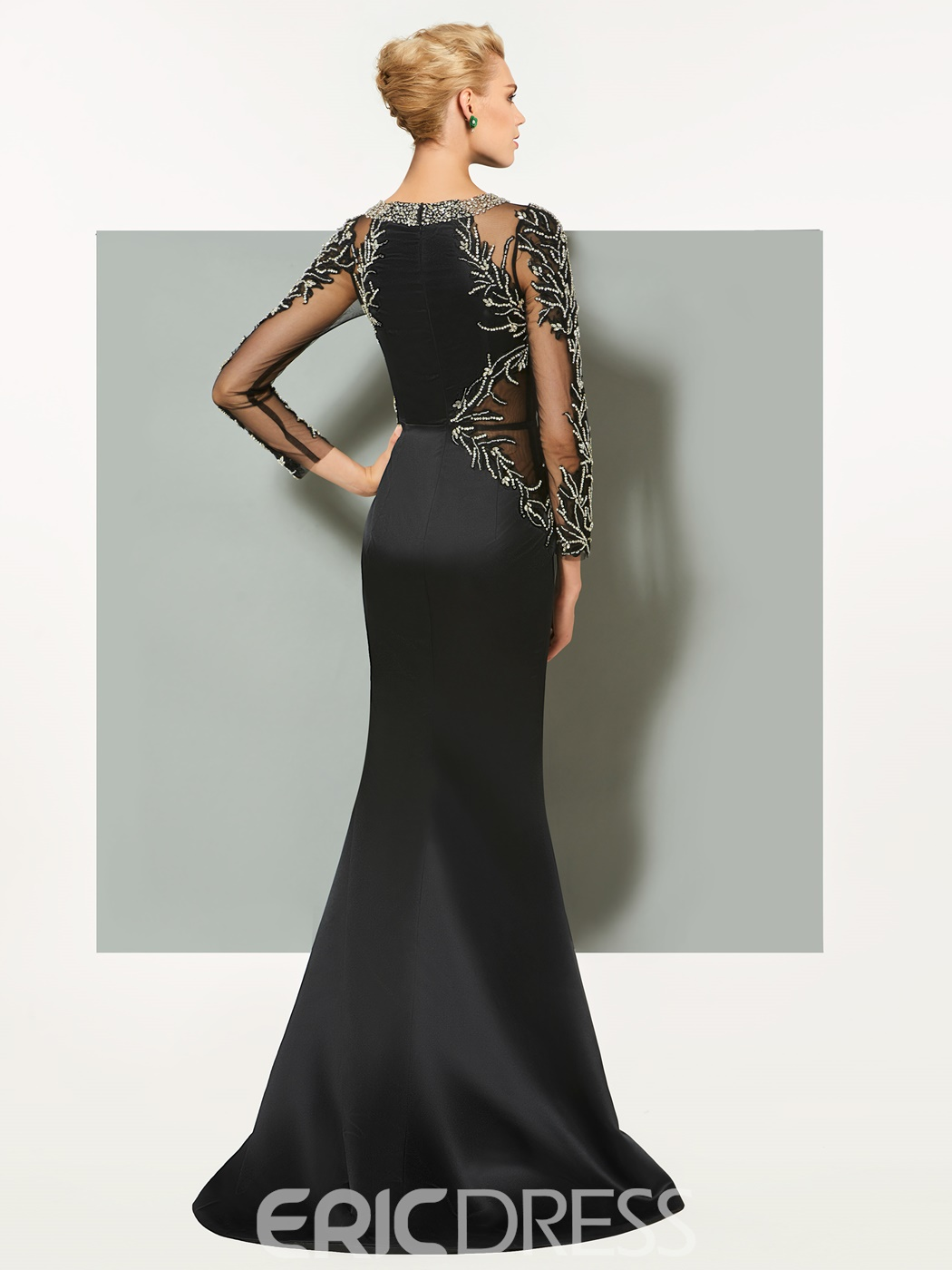 Ericdress Sheath Long Sleeves Beaded Black Evening Dress