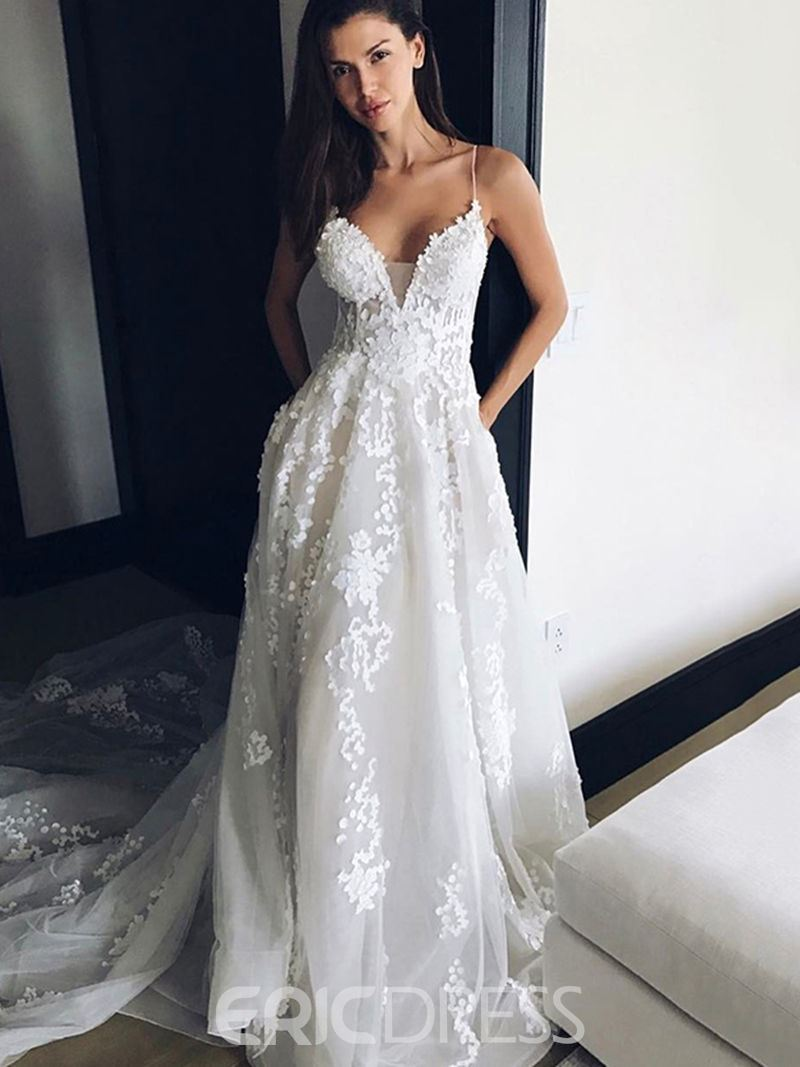 Ericdress Spaghetti Straps A Line Backless Appliques Wedding Dress