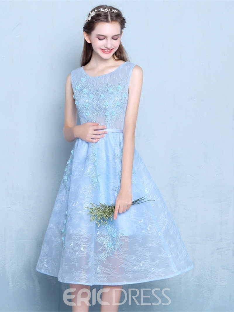 Ericdress A Line Scoop Neck Tea Length Lace Homecoming Dress