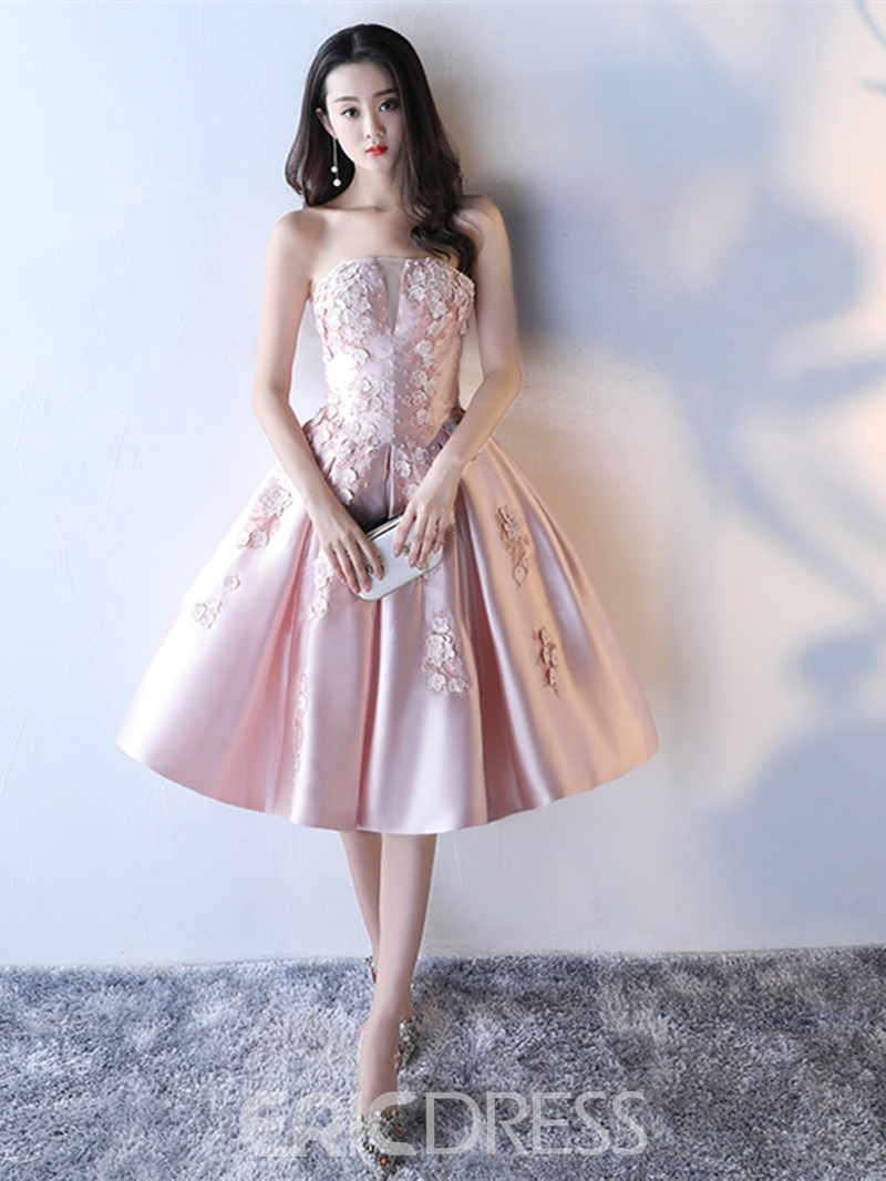 Ericdress A Line Strapless Applique Flower Tea Length Homecoming Dress