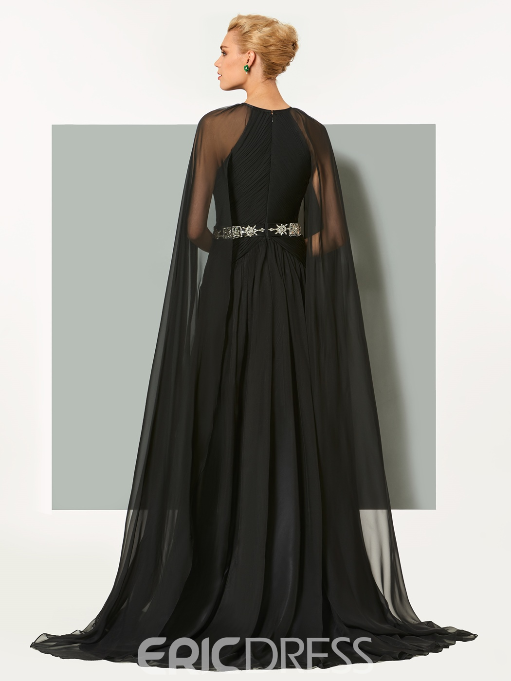 Ericdress A Line Long Sleeve Scoop Neck Beaded Long Evening Dress With Cape