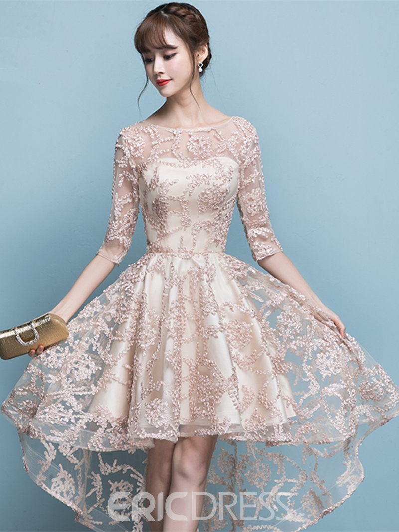 Ericdress A Line Half Sleeve High Low Asymmetry Lace Homecoming Dress