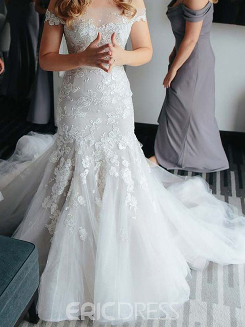 Ericdress Off The Shoulder Mermaid Appliques Tulle Wedding Dress