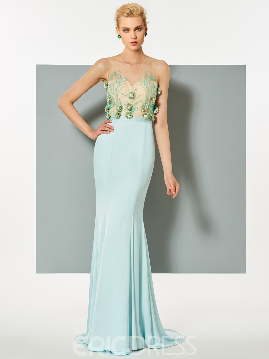 Ericdress Scoop Neck Flowers Beaded Sweep Train Mermaid Evening Dress