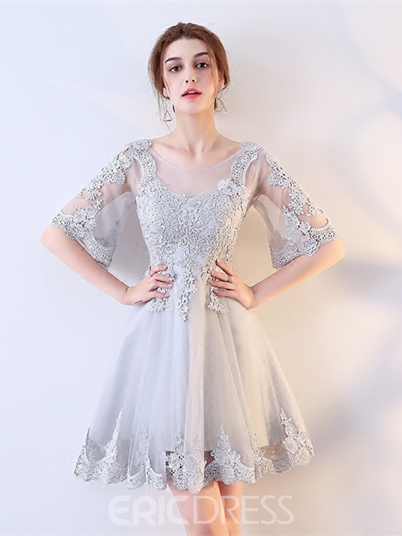 Ericdress A Line Half Sleeve Lace Applique Short Homecoming Dress