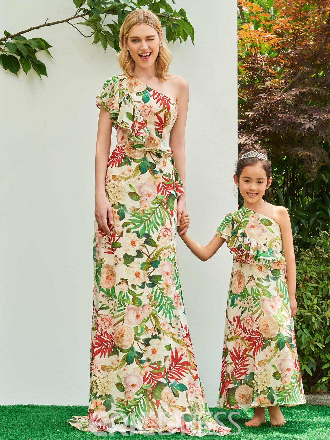 Ericdress One Shoulder A Line Printed Flower Girl Party Dress