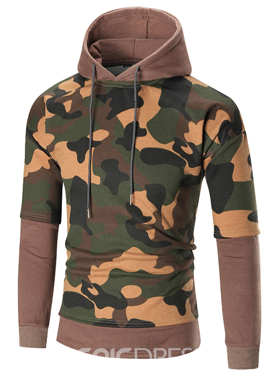 Ericdress Hooded Patchwork Camouflage Print Men's Hoodie