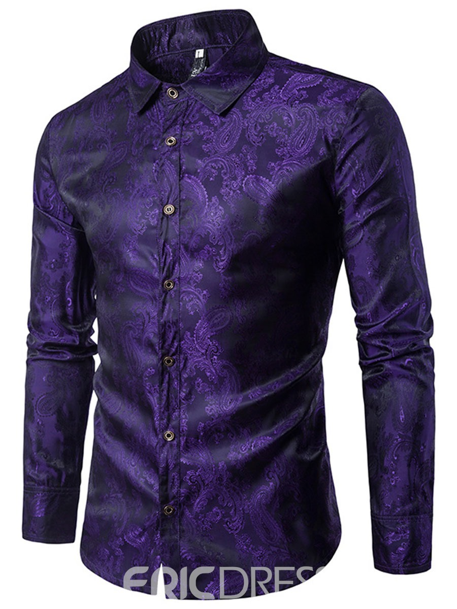 Ericdress Print Slim Long Sleeve Men's Casual Shirt