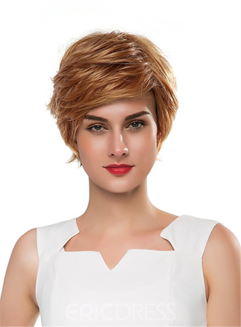 Ericdress Short Wavy Golden Human Hair Capless Wig 10 Inches