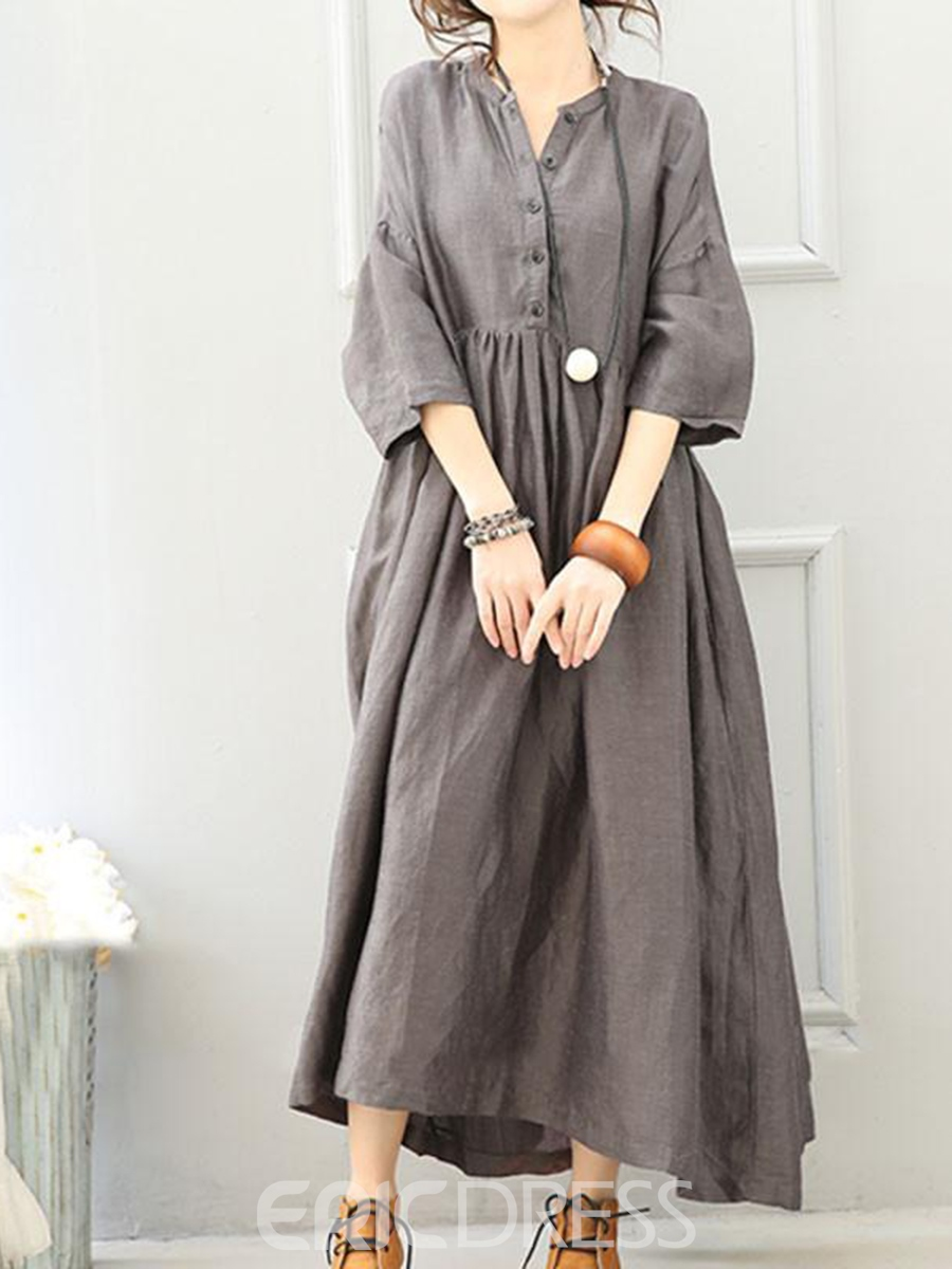 Ericdress Mori Girl Plain Single-Breasted Expansion Casual Dress