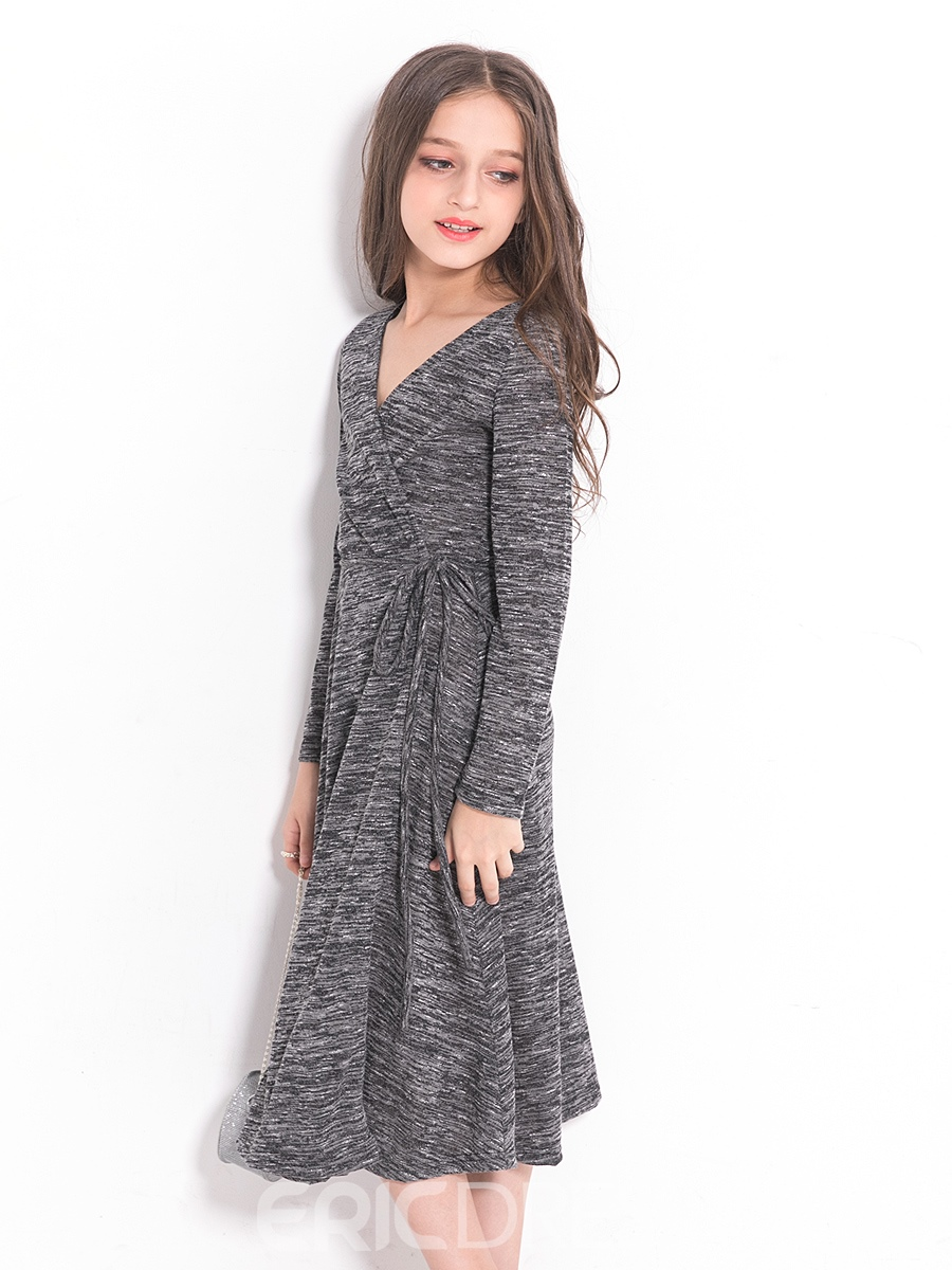 Ericdress V-Neck Long Sleeves Belt Knee-Length Pleated Girl's Dress