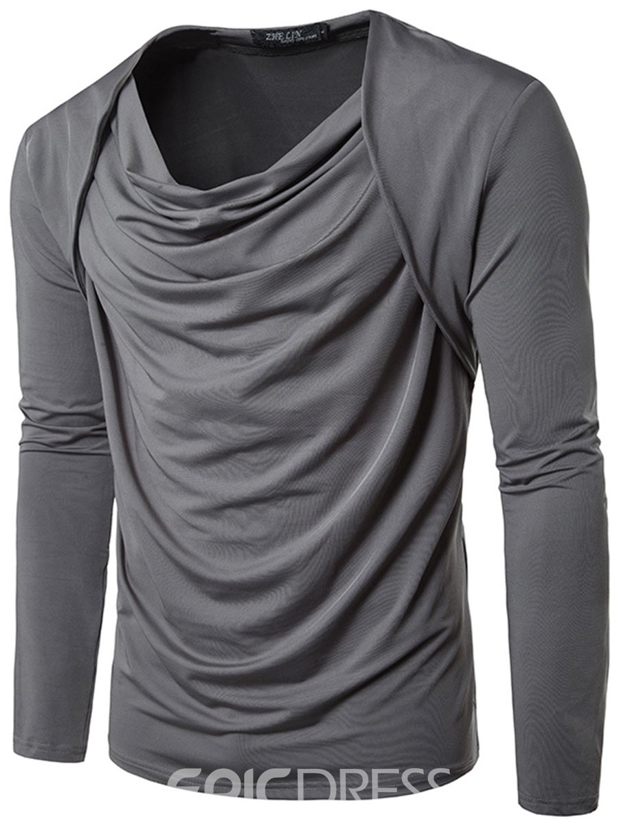 Ericdress Round Neck Loose Long Sleeve Pleat Men's T-Shirt