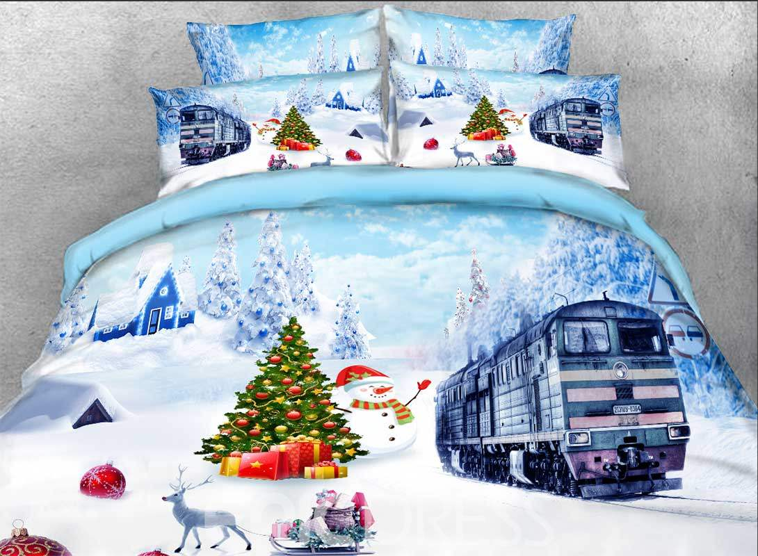 Vivilinen 3D Christmas Snowman and Train Printed Cotton 4-Piece Bedding Sets/Duvet Covers