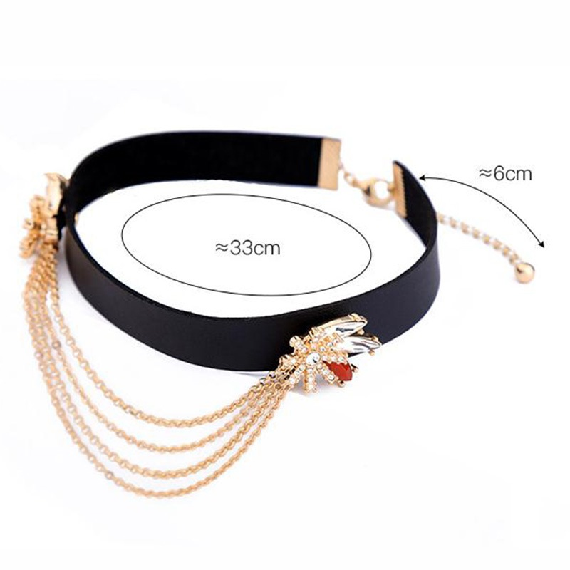 Ericdress European Style Diamante Leather Rope Multilayer Choker Necklace