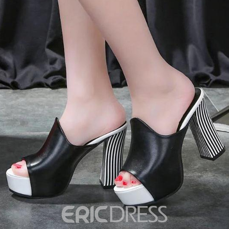 Ericdress Flip Flop Platform Chunky Mules Shoes