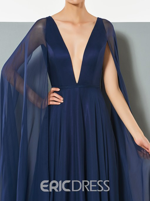 Ericdress Sexy A Line V Neck Chiffon Backless Long Evening Dress