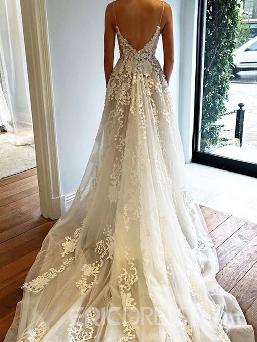 Ericdress Spaghetti Straps Backless Appliques Wedding Dress