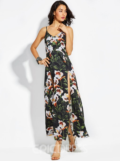Ericdress Spaghetti Strap Print Zipper Maxi Dress