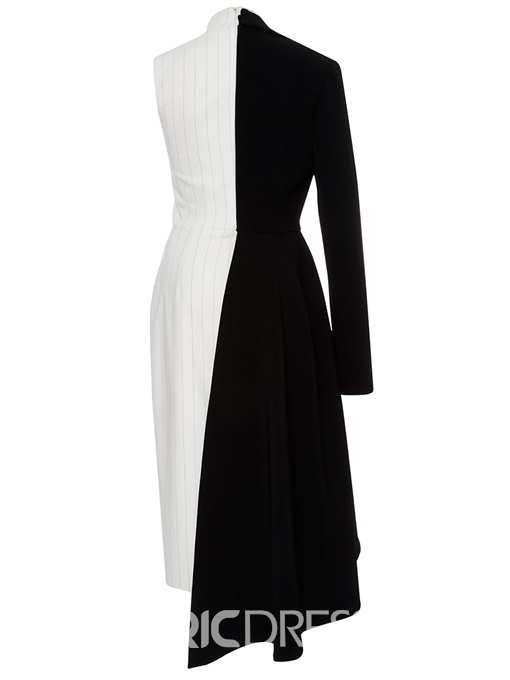 Ericdress Stand Collar Striped Asymmetric Color Block A Line Dress