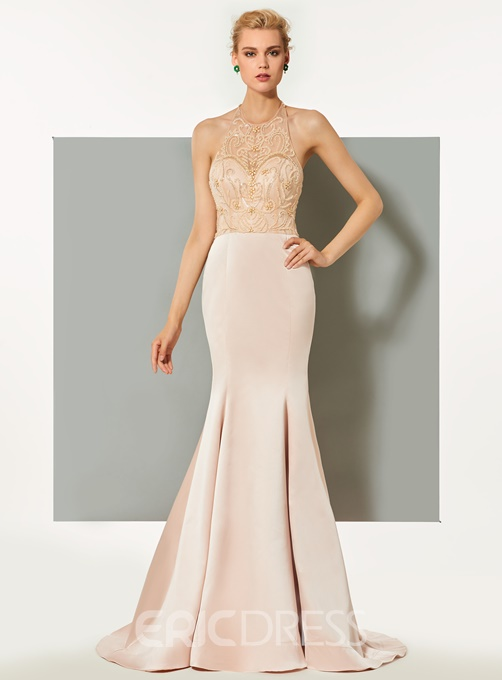 Ericdress Halter Beaded Mermaid Evening Dress With Sweep Train