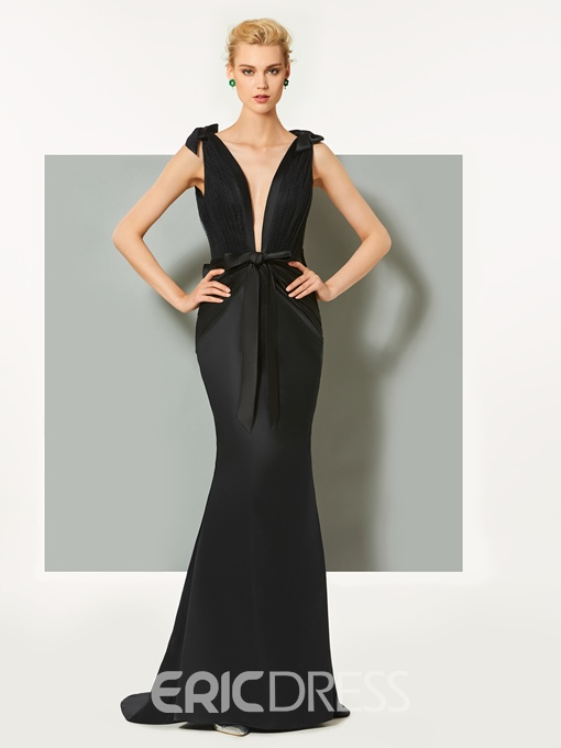 Ericdress Sexy Deep Neck Mermaid Evening Dress With Bowknot