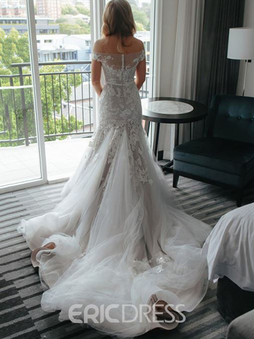 Ericdress Off The Shoulder Mermaid Appliques Wedding Dress
