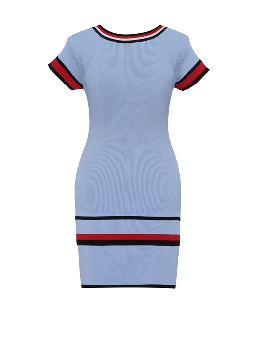 Ericdress V-Neck Stripe Color Block Sweater Dress
