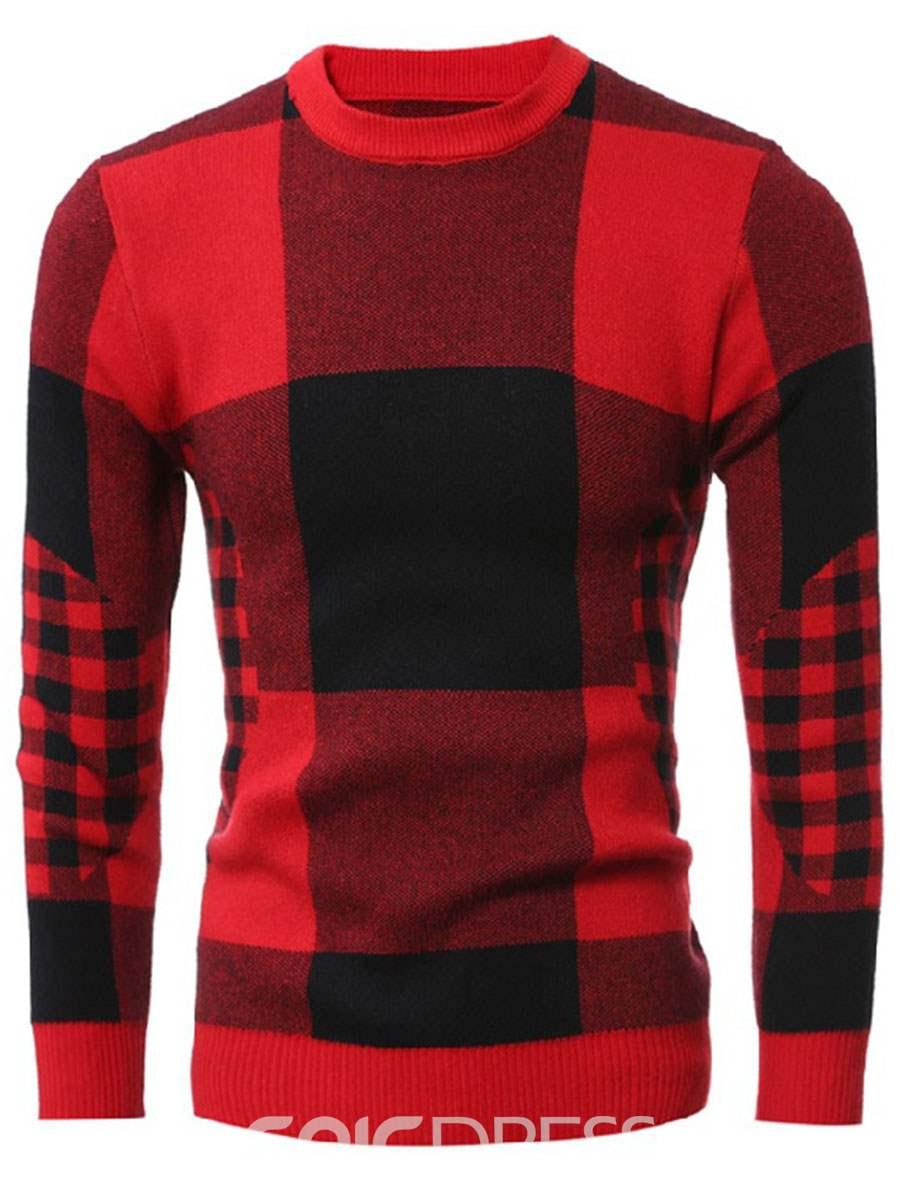 Ericdress Round Neck Plaid Men's Pullover Sweater