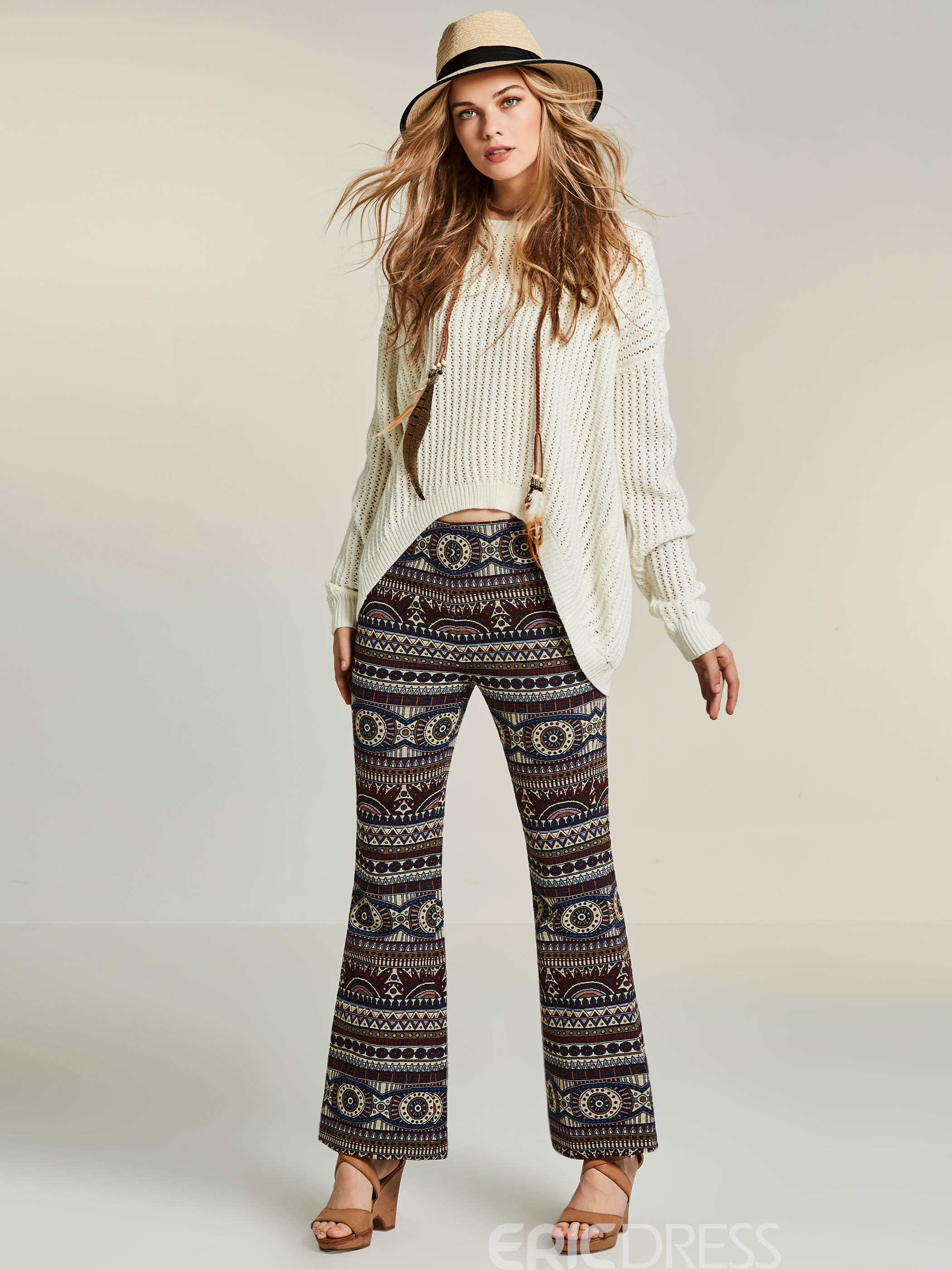 Ericdress Geometric Print Bell Bottom Women's Casual Pants