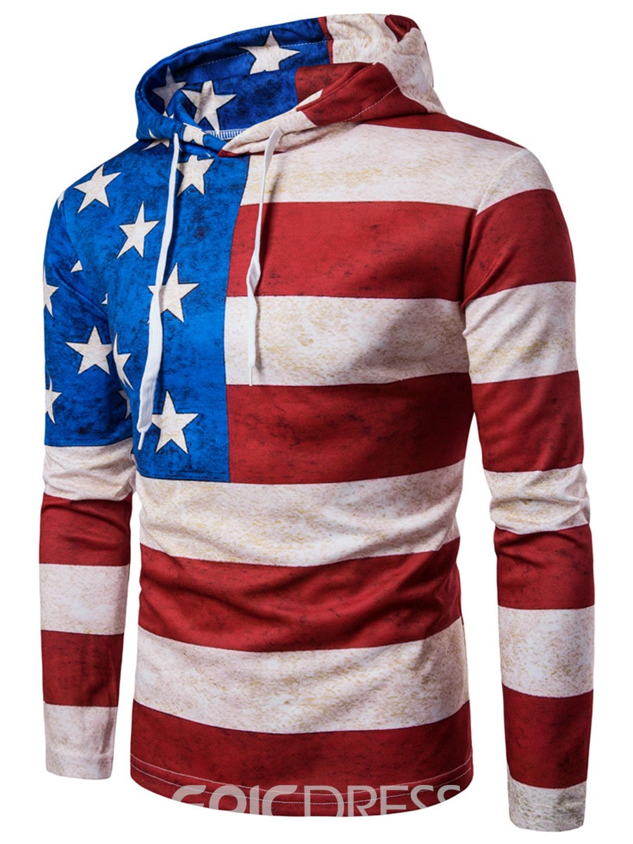 Ericdress Color Block Flag Print Casual Men's Hoodie