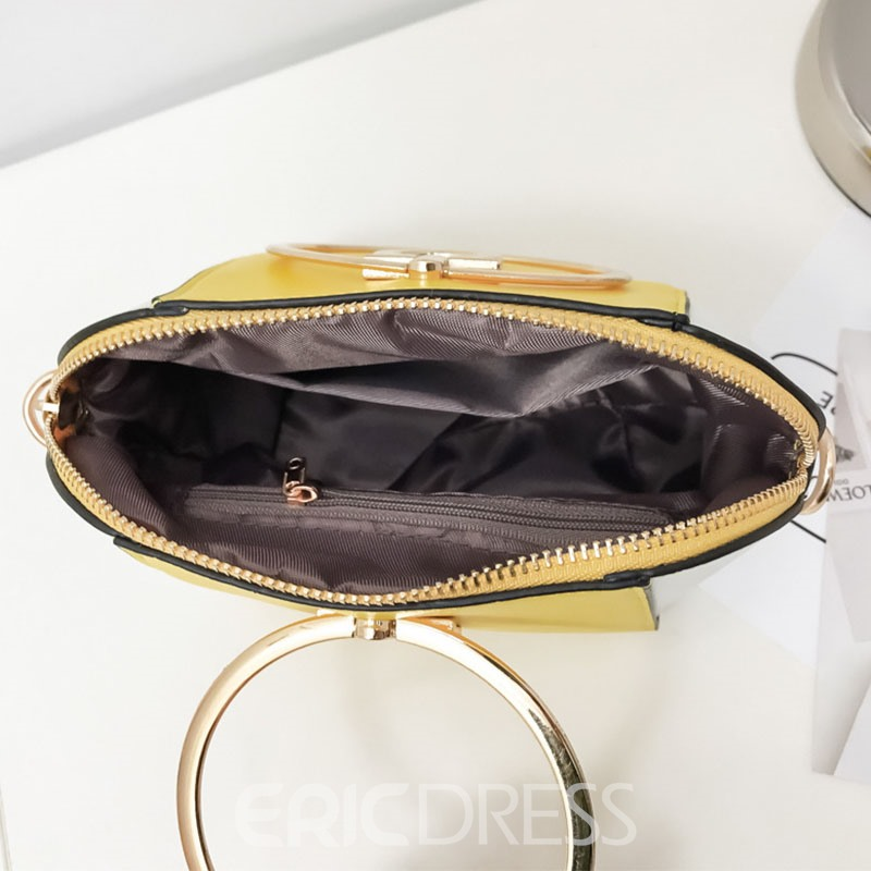 Ericdress Color Block Circular Handle Design Handbag