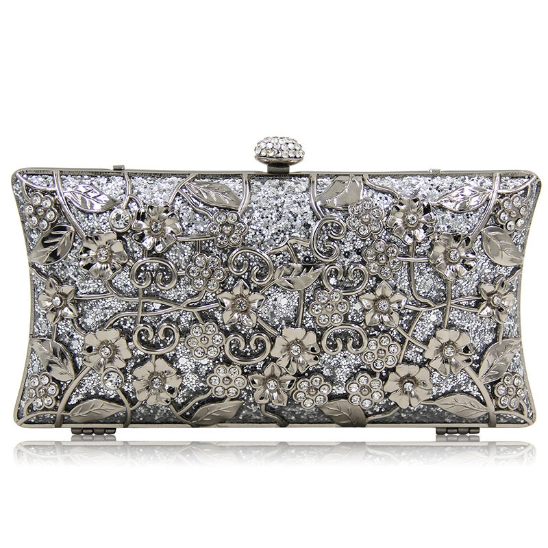 Ericdress Luxurious Sequins Floral Hollowed Rhinestone Clutch