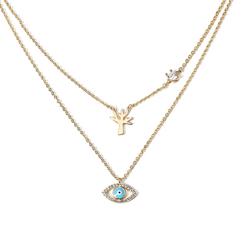 Ericdress Alluring Double Layer Eye Pendant Women's Necklace