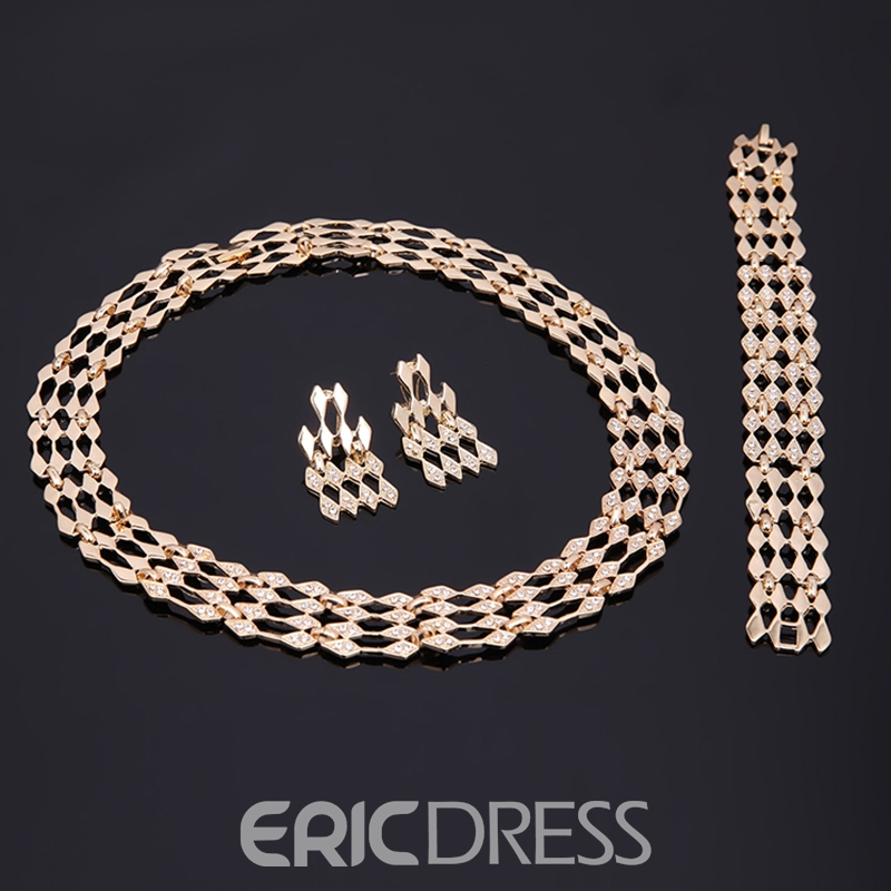 Ericdress Gold Color Hollow Out Four-Piece Jewelry Set