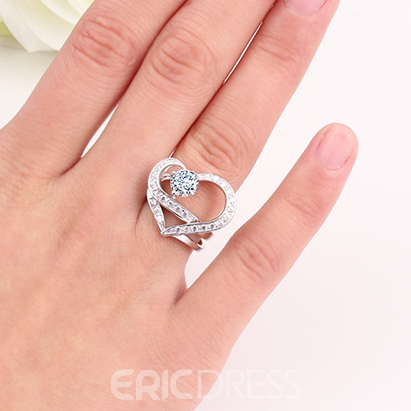 Ericdress S925 Sterling Silver Unique Style Heart Wedding Ring