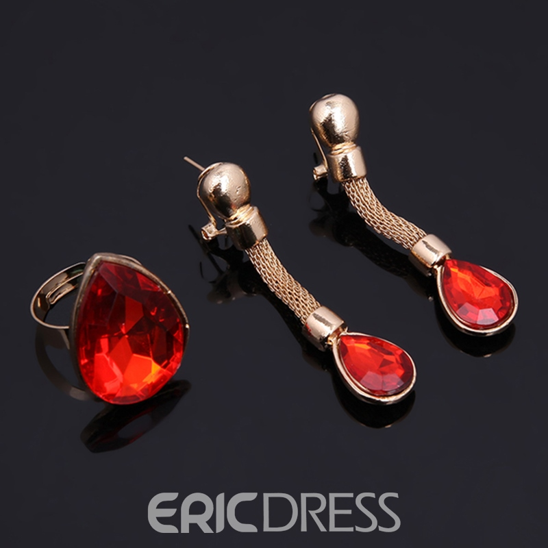 Ericdress Sparkling Ruby Inlay Wedding Accessories Jewelry Set