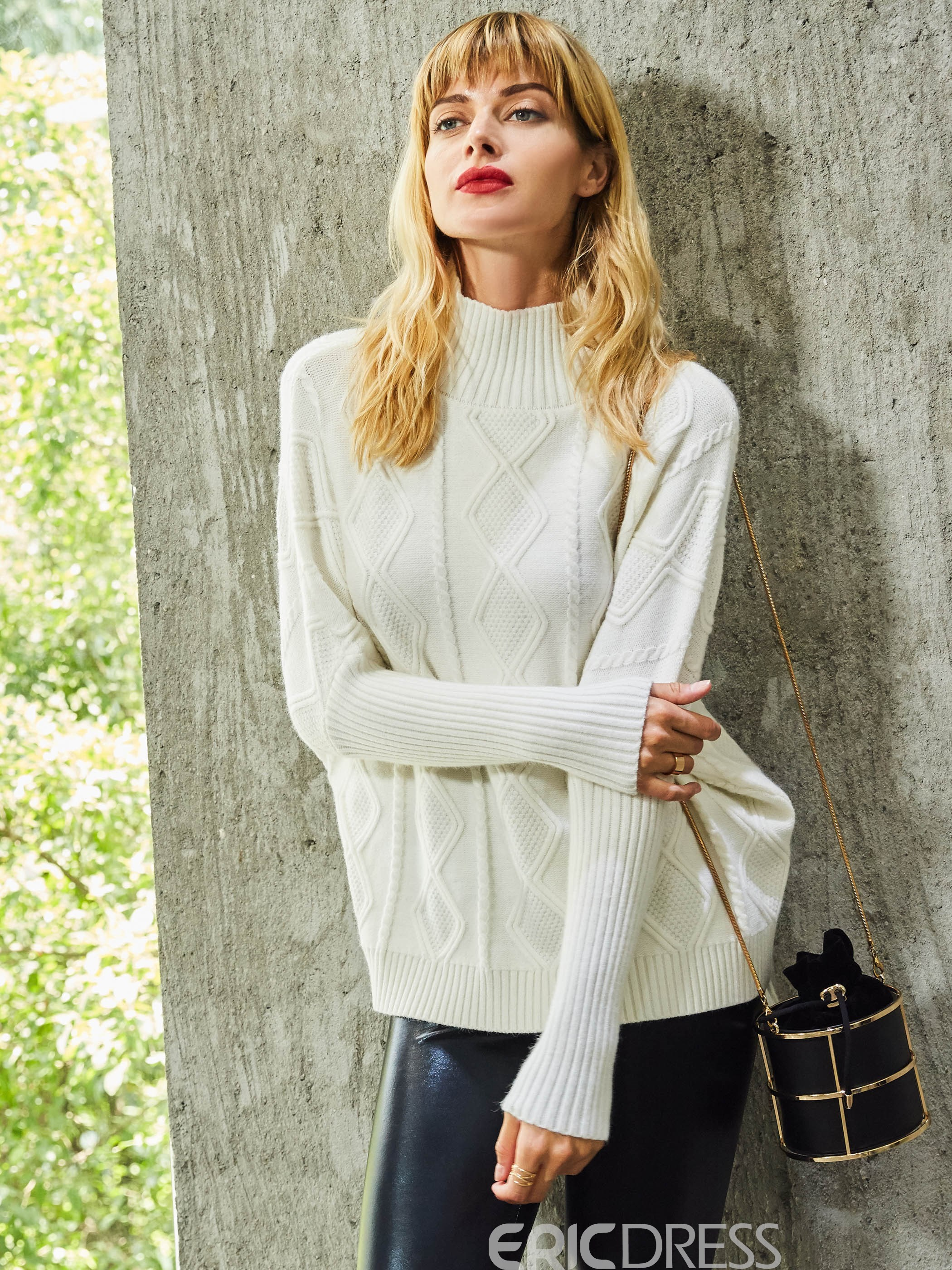 Ericdress Stand Collar Plain Knitted Fabric Sweater