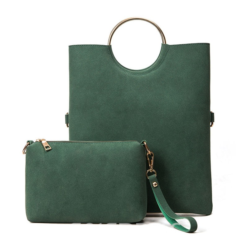 Ericdress Solid Color Ring Handle Women Handbag